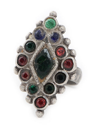 Multicolored Glass Tribal Silver Ring (Ring Size -9)
