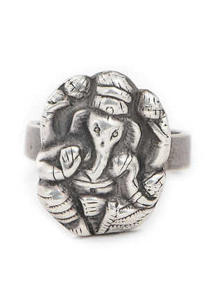 Tribal Silver Ring with Lord Ganesha Motif (Ring Size -7)