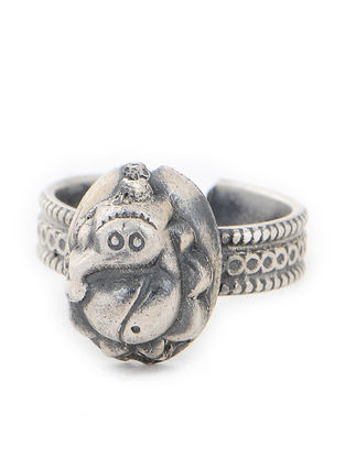 Tribal Silver Adjustable Ring with Lord Ganesha Motif