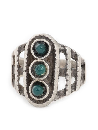 Green Tribal Silver Ring (Ring Size -8)