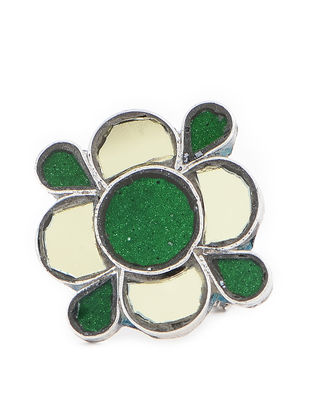 Green-Yellow Glass Adjustable Silver Ring