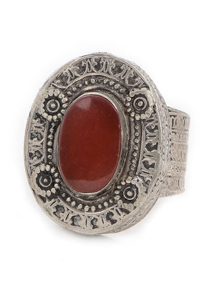 Red Tribal Silver Ring (Ring Size -9)