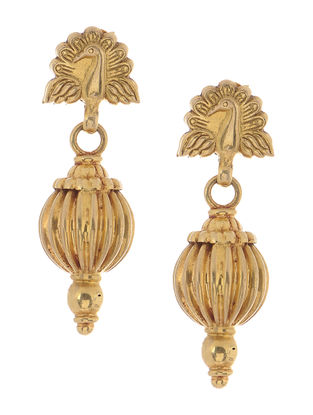 Tribal Gold Earrings with Peacock Design