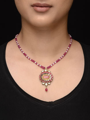 Rubellite Beaded Diamond Polki Gold Necklace with Pearls