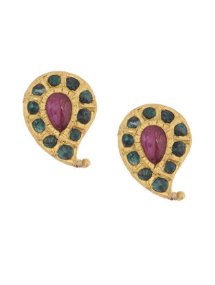 Ruby and Emerald Gold Earrings