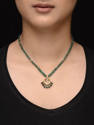 Emerald Beaded Gold Necklace with Jadau Work