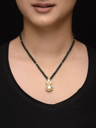 Emerald Beaded Diamond Polki Gold Necklace