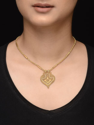 Tribal Gold Pendant with Floral Motif