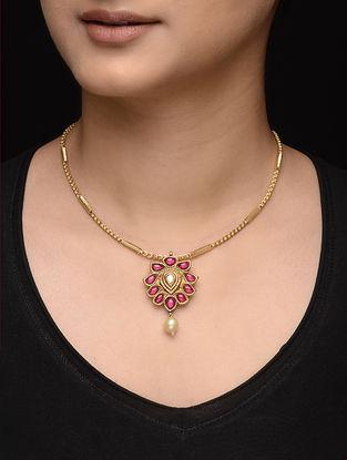 Ruby Diamond Polki Gold Pendant