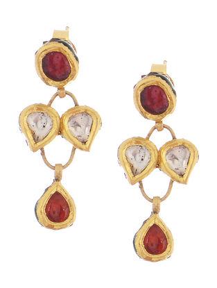 Ruby Diamond Polki Gold Earrings
