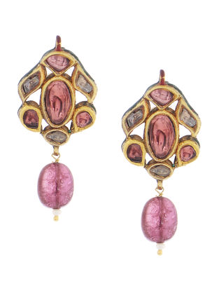 Rubellite Gold Earrings