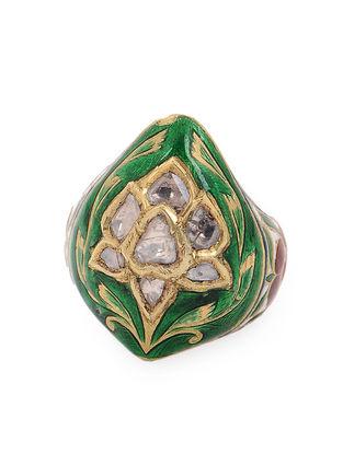 Green-Red Enameled Diamond Polki Gold Ring (Ring Size -8)