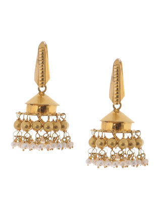 Classic Gold Jhumkis with Pearls