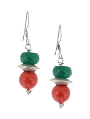 Coral-Jade Silver Earrings
