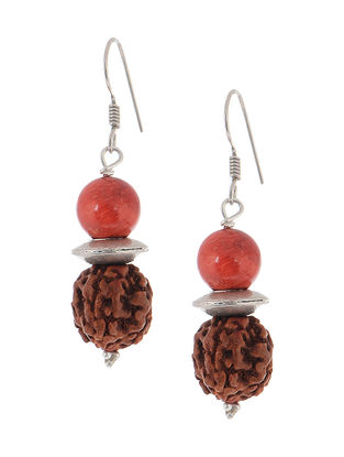 Coral Silver Earrings with Rudraksh