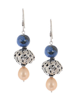 Lapis Silver Earrings with Pearls