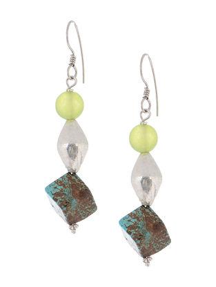 Turquoise-Prehnite Silver Earrings