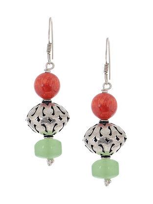 Coral-Prehnite Silver Earrings