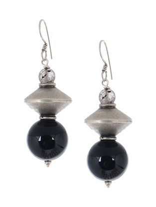 Black-Onyx Silver Earrings
