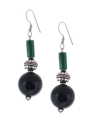 Onyx-JadeSilver Earrings