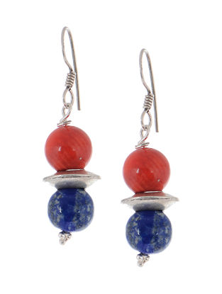 Coral-Lapis Silver Earrings