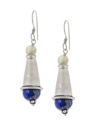 Lapis-Moonstone Silver Earrings