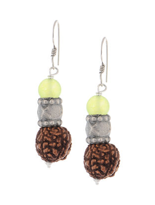 Prehnite Silver Earrings with Rudraksh