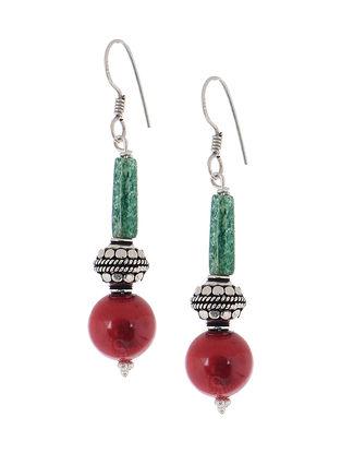 Jade-Coral Silver Earrings
