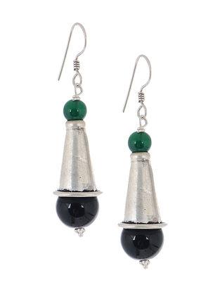 Jade-Onyx Silver Earrings