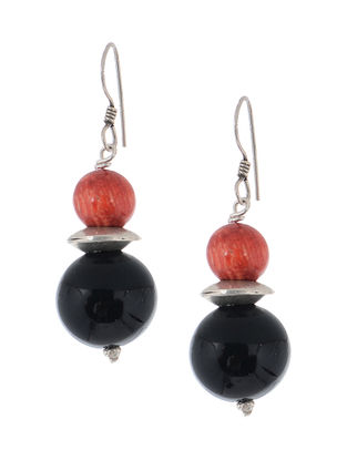 Onyx-Coral Silver Earrings