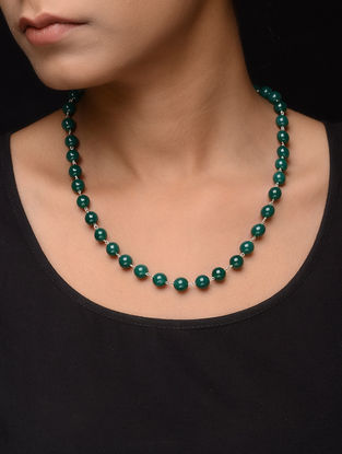 Jade Beaded Silver Necklace
