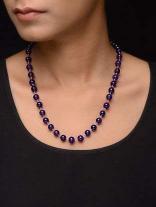 Amethyst Beaded Silver Necklace