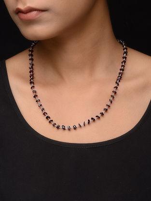Garnet Jade Beaded Silver Necklace