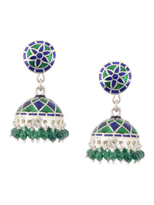 Blue-Green Enameled Silver Jhumkis