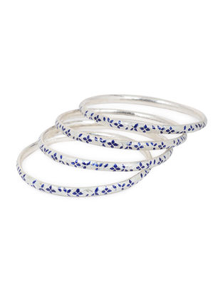 Blue Enameled Silver Bangles Set of 4 (Bangle Size -2/10 )