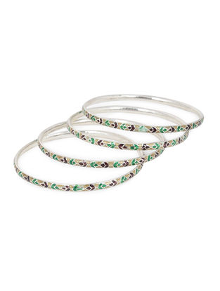 Multicolored Enameled Silver Bangles Set of 4 (Bangle Size -2/8)