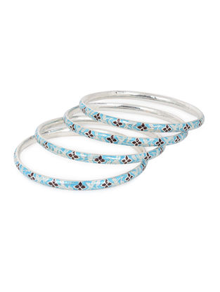 Blue-Maroon Enameled Silver Bangles Set of 4 (Bangle Size -2/10)