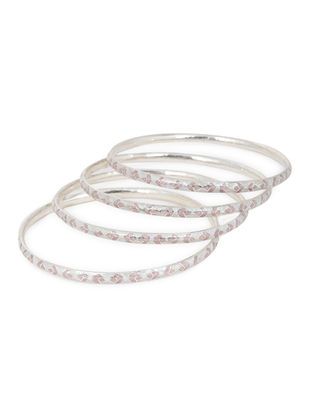 Pink Enameled Silver Bangles Set of 4 (Bangle Size -2/10)