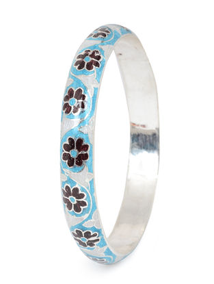 Blue-Maroon Enameled Silver Bangle (Bangle Size -2/8)