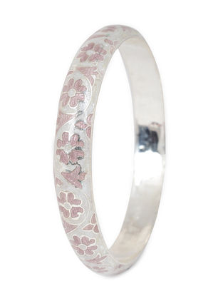 Pink Enameled Silver Bangle (Bangle Size -2/8)