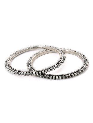 Tribal Silver Bangles (Set of 2) (Bangle Size - 2/6)