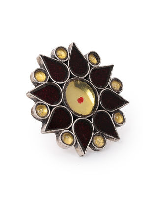 Brown-Yellow Glass Tribal Silver Adjustable Ring
