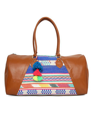 Tan-Multicolored Hand-Embroidered Jacquard Duffle Bag with Tassles