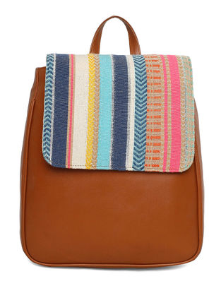 Tan-Multicolored Jacquard Back Pack
