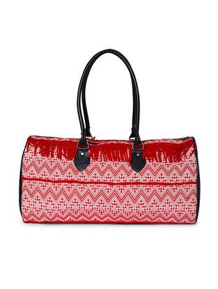 Black-Red Jacquard Duffle Bag