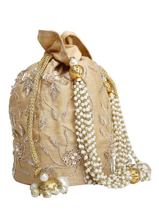 Gold Hand-Embroidered Raw Silk Potli