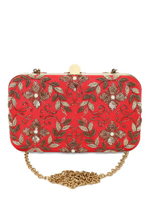 Red Hand-Embroidered Raw Silk Clutch