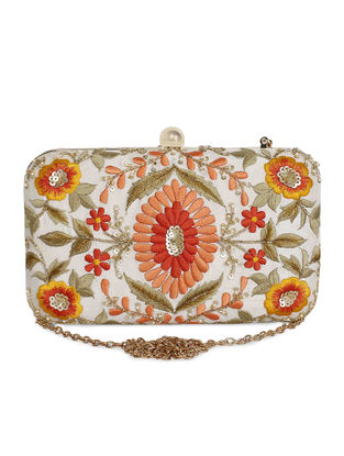 Multicolored Hand-Embroidered Raw Silk Clutch