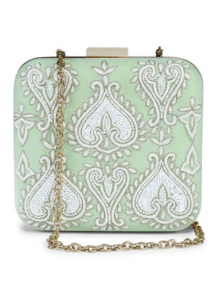 Mint Hand-Embroidered Raw Silk Clutch