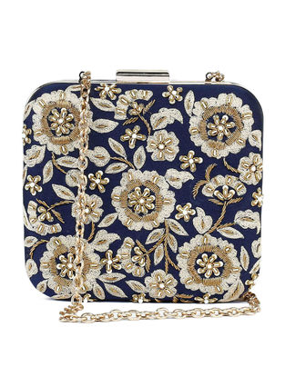 Blue-Gold Hand-Embroidered Raw Silk Clutch
